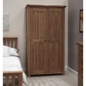 Rustic Solid Oak Furniture Double Wardrobe