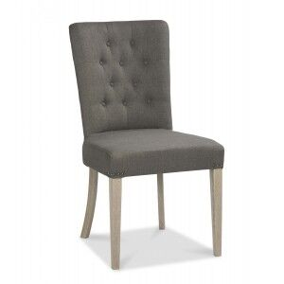 Bentley Designs Bordeaux Chalked Oak Upholstered Chair Titanium Grey (Pair)